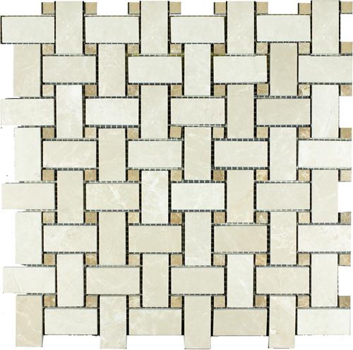 Mosaic Cross Basket Emperador Polished