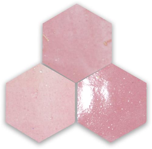 Zellige Rose Vieux Hexagone