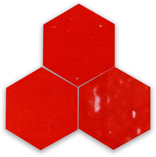 Zellige Rouge Sang Hexagone