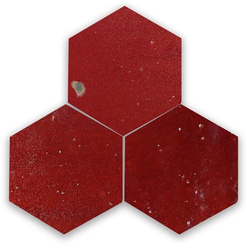 Zellige Bordeaux Rouge Hexagone