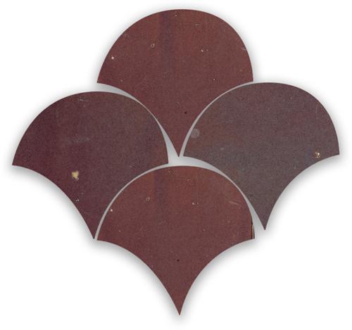 Zellige Aubergine Clair Poisson Echelles 10x10cm