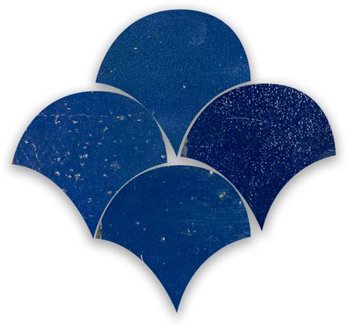 SAM Zellige Bleu Foncee Poisson Echelles 10x10cm