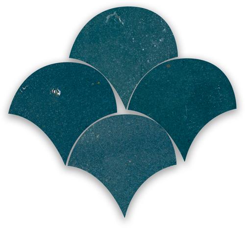 Zellige Bleu Marine Poisson Echelles 10x10cm