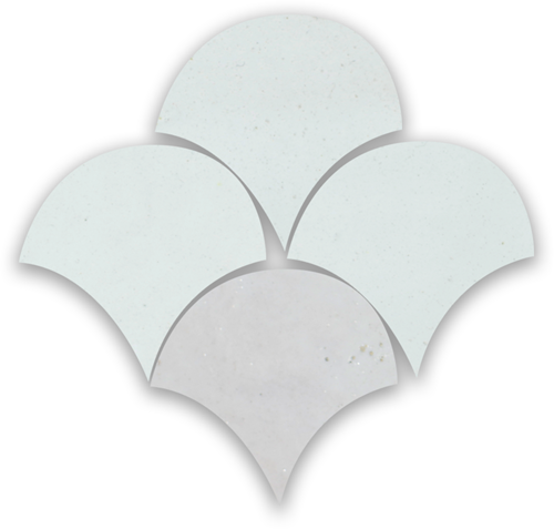 Zellige Neige Blanc Poisson Echelles 10x10cm