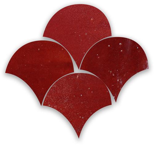 SAM Zellige Bordeaux Rouge Poisson Echelles 10x10cm