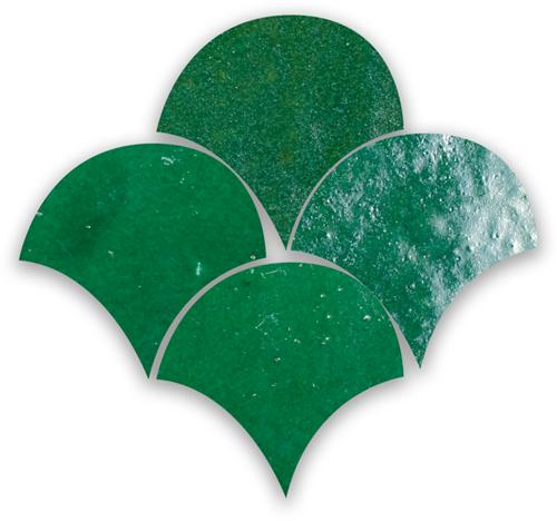 SAM Zellige Vert Foncee Poisson Echelles 10x10cm