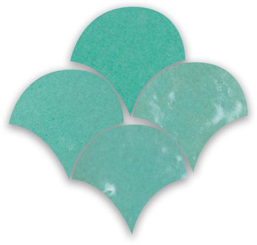 Zellige Vert Turquoise Poisson Echelles 10x10cm
