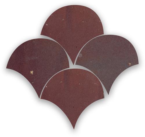 Zellige Aubergine Clair Poisson Echelles 5x5cm