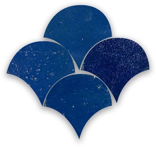 Zellige Bleu Foncee Poisson Echelles 5x5cm