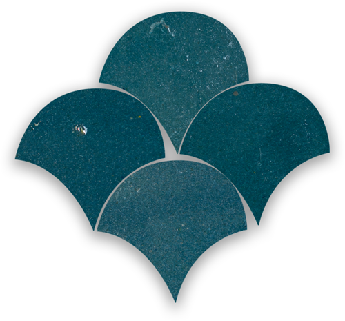 Zellige Bleu Marine Poisson Echelles 5x5cm
