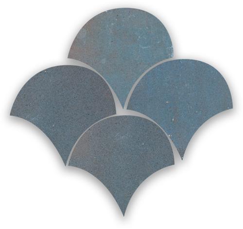Zellige Gris Aubergine Poisson Echelles 5x5cm