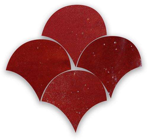 Zellige Rouge Poisson Echelles 5x5cm