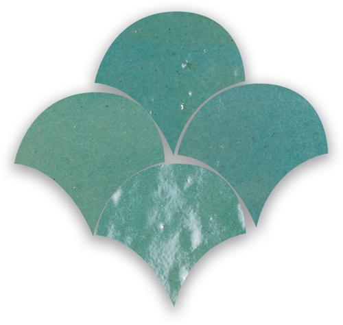 Zellige Vert Gris Poisson Echelles 5x5cm