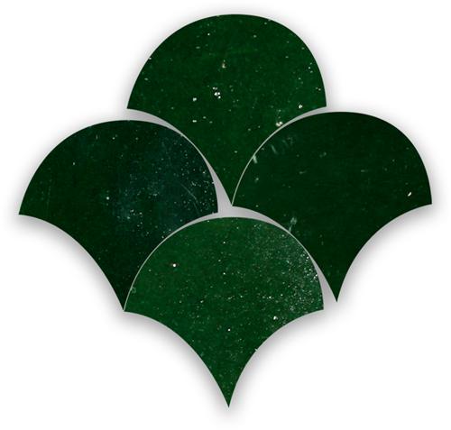 Zellige Vert Mousse Poisson Echelles 5x5cm