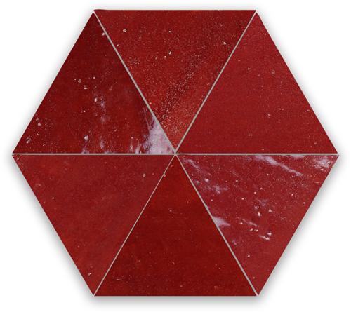 Zellige Bordeaux Rouge Triangle