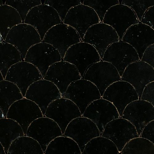 Zellige Noir Poisson Echelles 5x5cm