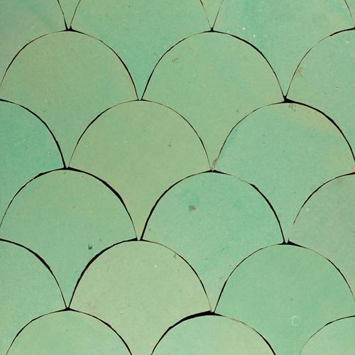 Zellige Turquoise Poisson Echelles 10x10cm